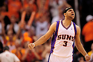 May 25, 2010; Phoenix, AZ, USA; Phoenix Suns forward Jared Dudley (3) celebrates during the fourth quarter in game four of the western conference finals in the 2010 NBA Playoffs at US Airways Center.  The Suns defeated the Lakers 115 - 106.  Mandatory Credit: Jennifer Stewart-US PRESSWIRE