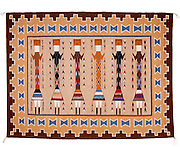 "0108-1026 ~ Copyright:  George H. H. Huey ~ Navajo Indian Rug. Yei design. 51"" x 67"".  Hubbell Trading Post National Historic Site, Arizona."