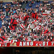 NLD/Amsterdam/20070811 - 12de Johan Cruijff Schaal, Ajax - PSV, Ajax supporters met vlaggen op de tribune