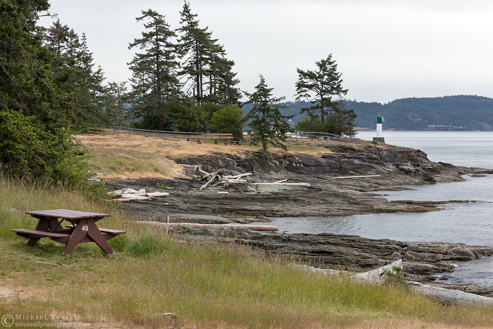 View from the campground at Ruckle Provincial Park on Salt Spring Island, British Columbia, Canada. North Pender Island and Swanson Channel are in the background.
