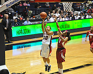 Ole Miss' Diara Moore (10) vs. Alabama's Shafontaye Myers (12) in NCAA women's basketball action in Oxford, Miss. on Sunday, January 13, 2013.  Alabama won 83-75.