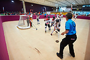 Graz, Austria - 2017 March 17: SO Hungary compete with SO Spain in Floor Hockey while Special Olympics World Winter Games Austria 2017 at Messe Graz on March 17, 2017 in Graz, Austria.<br /> <br /> Mandatory credit:<br /> Photo by &copy; Adam Nurkiewicz / Mediasport<br /> <br /> Adam Nurkiewicz declares that he has no rights to the image of people at the photographs of his authorship.<br /> <br /> Picture also available in RAW (NEF) or TIFF format on special request.<br /> <br /> Any editorial, commercial or promotional use requires written permission from the author of image.<br /> <br /> Image can be used in the press when the method of use and the signature does not hurt people on the picture.