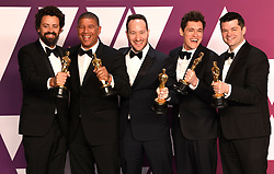 "Bob Persichetti, Peter Ramsey, Rodney Rothman, Phil Lord and Christopher Mille, winners of the Best Animated Feature Film Awards for ""Spider-Man: Into The Spider-Verse"" at the 91st Annual Academy Awards (Oscars) presented by the Academy of Motion Picture Arts and Sciences.<br /> (Hollywood, CA, USA)"