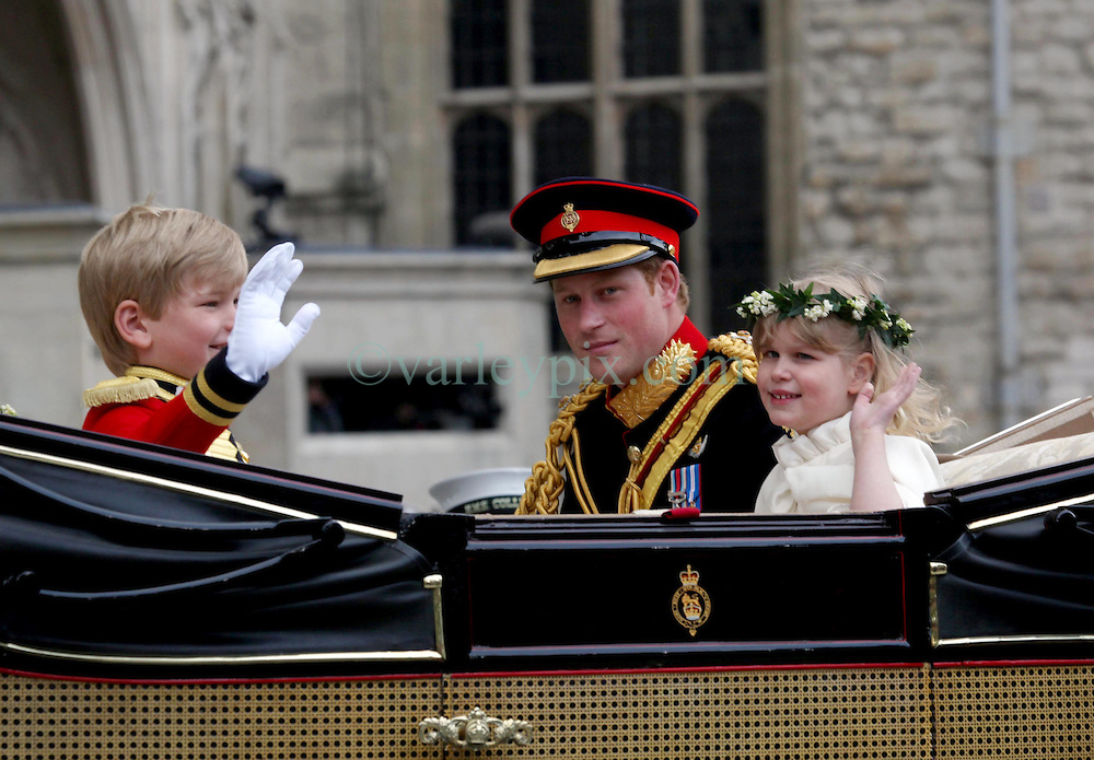 29 April 2011. London, England..Royal wedding day. Prince Harry leaves the service with a young page boy and bridesmaid..Photo; Charlie Varley.