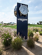Longings clock on display at the practice area at The Track at The Meydan Golf Club, Dubai, United Arab Emirates.  31/01/2016. Picture: Golffile | David Lloyd<br /> <br /> All photos usage must carry mandatory copyright credit (© Golffile | David Lloyd)