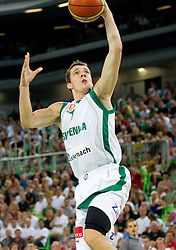 Goran Dragic of Slovenia during friendly match before Eurobasket Lithuania 2011 between National teams of Slovenia and Lithuania, on August 24, 2011, in Arena Stozice, Ljubljana, Slovenia. (Photo by Vid Ponikvar / Sportida)