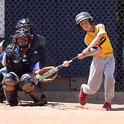 A young batter in action during the Norwalk Little League baseball competition at Broad River Fields,  Norwalk, Connecticut. USA. Photo Tim Clayton