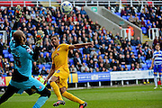 Preston North End Forward Jermaine Beckford (10) scores past Reading Goalkeeper Ali Al Habsi (26) during the Sky Bet Championship match between Reading and Preston North End at the Madejski Stadium, Reading, England on 30 April 2016. Photo by Jon Bromley.