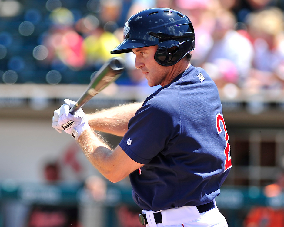 Chase Utley bats in the first inning. Philadelphia Phillies 2nd baseman Chase Utley rehabs with the Lehigh Valley IronPigs in a game against the Norfolk Tides August 2nd, 2015, at Coca-Cola Park in Allentown.