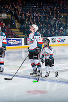 KELOWNA, CANADA - JANUARY 28: Lucas Johansen #7 of the Kelowna Rockets lines up on the blue line with the Pepsi player on January 28, 2017 at Prospera Place in Kelowna, British Columbia, Canada.  (Photo by Marissa Baecker/Shoot the Breeze)  *** Local Caption ***