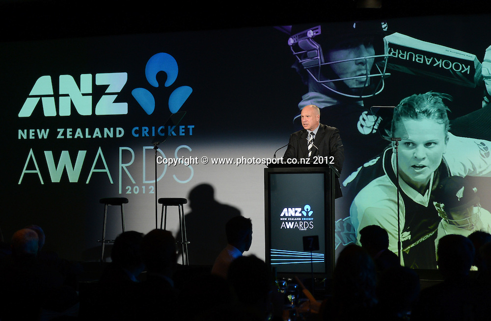 NZ Cricket CEO David White. ANZ New Zealand Cricket Awards 2012. Pullman Hotel, Auckland, Thursday 18 October 2012. Photo: Andrew Cornaga/Photosport.co.nz