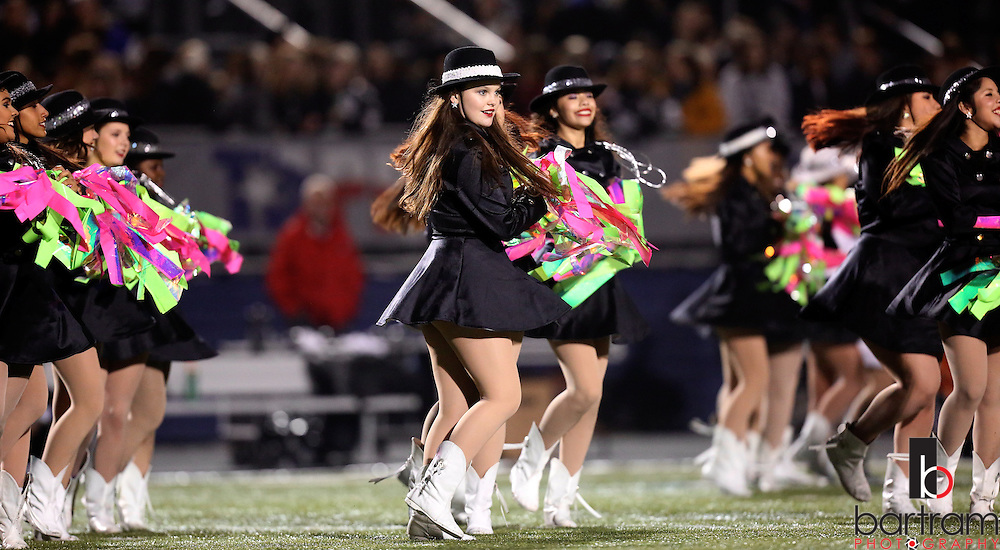 The Bishop Lynch drill team performs during halftime at the TAPPS Division I state championship game on Saturday, Dec. 3, 2016 at Panther Stadium in Hewitt, Texas. Bishop Lynch High School won 21-17. (Photo by Kevin Bartram)