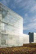 Detail of glass cube. Silesian Museum, Katowice, Poland. Architect: Riegler Riewe Architekten , 2014.