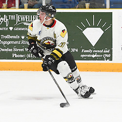 TRENTON, ON  - MAY 2,  2017: Canadian Junior Hockey League, Central Canadian Jr. &quot;A&quot; Championship. The Dudley Hewitt Cup. Game 2 between Powassan Voodoos and the Trenton Golden Hawks. Dayton Murray #20 of the Powassan Voodoos skates with the puck during the second period.<br /> (Photo by Andy Corneau / OJHL Images)