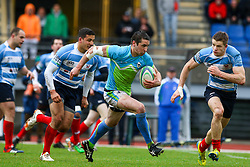 during rugby match between National team of Slovenia (green-blue) and Luxemburg (blue-white) at EUROPEAN NATIONS CUP 2014-2016 of C group 2nd division, on April 18, 2015, at ZAK Stadium, Ljubljana, Slovenia. (Photo by Matic Klansek Velej / Sportida.com)