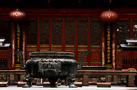 An ancient offering cauldron at Buddhist Temple in Shenzhen, China.