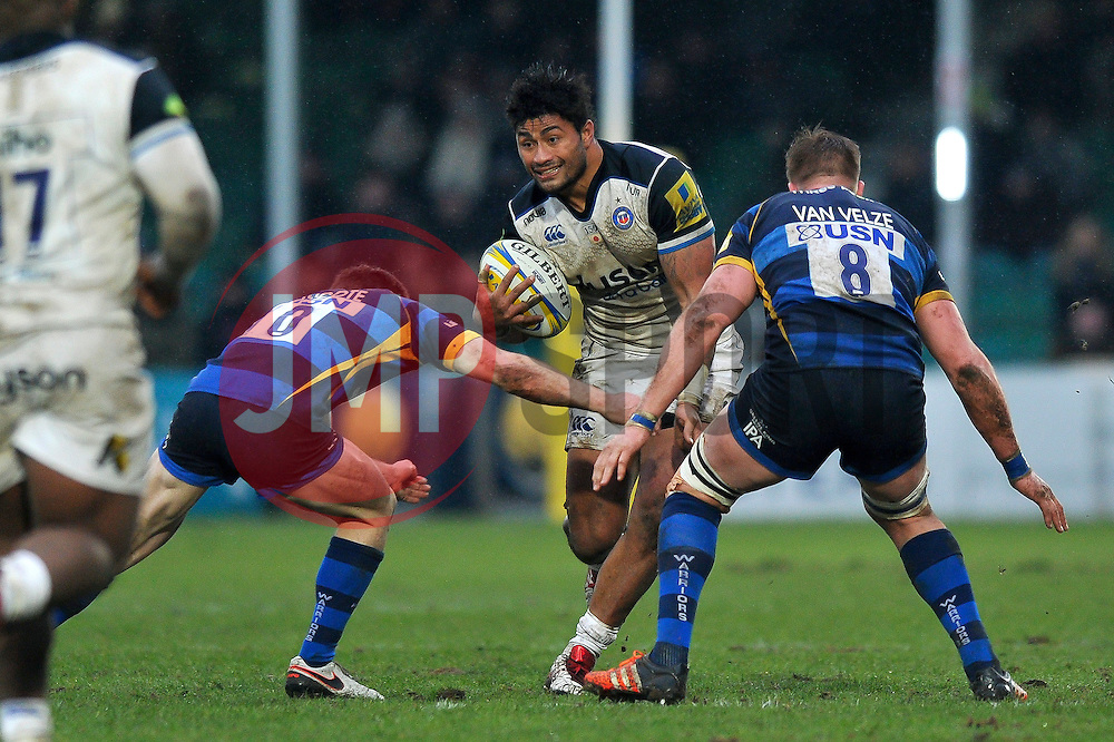 Amanaki Mafi of Bath Rugby takes on the Worcester Warriors defence - Mandatory byline: Patrick Khachfe/JMP - 07966 386802 - 13/02/2016 - RUGBY UNION - Sixways Stadium - Worcester, England - Worcester Warriors v Bath Rugby - Aviva Premiership.