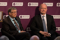 © Licensed to London News Pictures. 19/04/2017. London, UK.  Bill Gates, (Co-Chair of the Bill & Melinda Gates Foundation) and Lord William Hague of Richmond, (Former Foreign Secretary and Chairman of RUSI) at The Royal United Services Institute (RUSI) panel discussion on aid, security and broader British national interests. Photo credit : Tom Nicholson/LNP