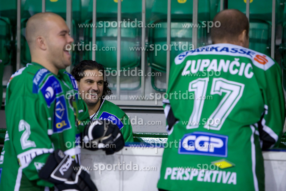 Kevin Mitchell, Frank Banham and Nik Zupancic of HDD Tilia Olimpija before new season 2008/2009,  on September 17, 2008 in Arena Tivoli, Ljubljana, Slovenia. (Photo by Vid Ponikvar / Sportal Images)