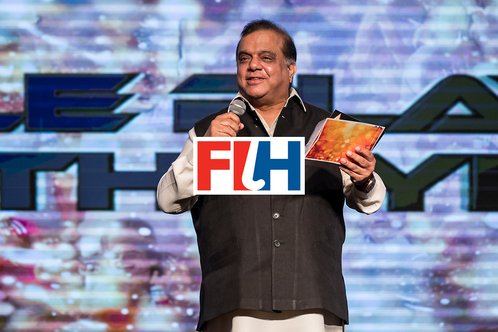 CHANDIGARH, INDIA - FEBRUARY 23: Dr. Narinder Dhruv Batra, President of The International Hockey Federation speaks during the FIH Hockey Stars Awards 2016 at Lalit Hotel on February 23, 2017 in Chandigarh, India. (Photo by Ali Bharmal/Getty Images for FIH)