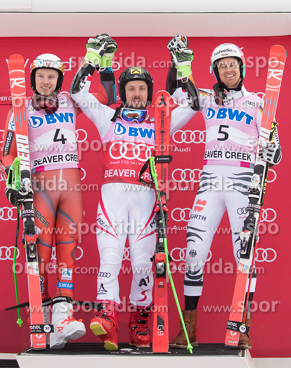 03.12.2017, Beaver Creek, USA, FIS Weltcup Ski Alpin, Beaver Creek, Riesenslalom, Herren, Siegerehrung, im Bild v.l. Henrik Kristoffersen (NOR, 2. Platz), Marcel Hirscher (AUT, 1. Platz), Stefan Luitz (GER, 3. Platz) // f.l. second placed Henrik Kristoffersen of Norway race winner Marcel Hirscher of Austria third placed Stefan Luitz of Germany during the winner Ceremony for the men's Giant Slalom of FIS Ski Alpine World Cup in Beaver Creek, United Staates on 2017/12/03. EXPA Pictures © 2017, PhotoCredit: EXPA/ Johann Groder
