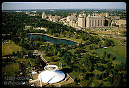 Aerial of Forest Park with Science Center in foreground, St Louis Medical Center complex on right. Missouri