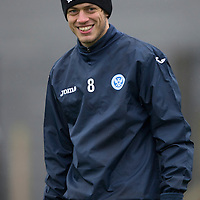 St Johnstone Training…  11.12.15<br />Murray Davidson all smiles during training this morning at McDiarmid Park ahead of Sunday's game against Celtic.<br />Picture by Graeme Hart.<br />Copyright Perthshire Picture Agency<br />Tel: 01738 623350  Mobile: 07990 594431