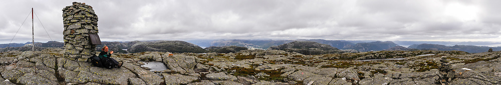 Norway, Strand. Moslifjellet is a 718 meter high mountain. Stitched panorama.