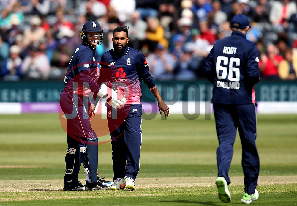 Adil Rashid of England celebrates with teammates after taking the wicket of Kevin O'Brien of Ireland - Mandatory by-line: Robbie Stephenson/JMP - 05/05/2017 - CRICKET - Brightside County Ground - Bristol, United Kingdom - England v Ireland - Royal London One Day Cup