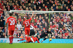 LIVERPOOL, ENGLAND - Saturday, November 22, 2008: Liverpool's goalkeeper Pepe Reina saves from Fulham's Andrew Johnson during the Premiership match at Anfield. (Photo by David Rawcliffe/Propaganda)
