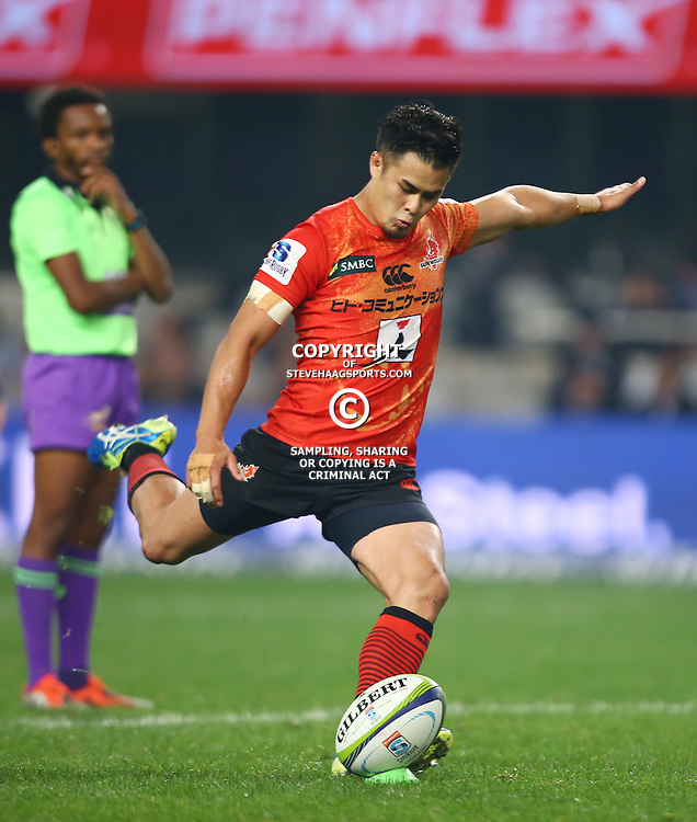 DURBAN, SOUTH AFRICA - JULY 15: Yu Tamura (captain) of the Sunwolves during the Super Rugby match between the Cell C Sharks and Sunwolves at Growthpoint Kings Park on July 15, 2016 in Durban, South Africa. (Photo by Steve Haag/Gallo Images)