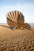 Scallop sculpture by artist Maggi Hambling, on shingle beach at Aldeburgh, Suffolk, England