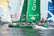 Groupama, day one of the Cardiff Extreme Sailing Series Regatta. 22/8/2014