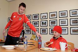 Bristol City Goalkeeper, Dave Richards offers Connor a drink - Photo mandatory by-line: Dougie Allward/JMP - Mobile: 07966 386802 - 01/04/2015 - SPORT - Football - Bristol - Bristol City Training Ground - HR Owen and SAM FM