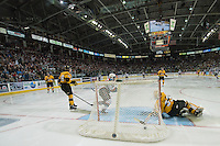 KELOWNA, CANADA - MAY 13: Nick Merkley #10 of Kelowna Rockets scores the second goal of the game against Jordan Papirny #33 of Brandon Wheat Kings on May 13, 2015 during game 4 of the WHL final series at Prospera Place in Kelowna, British Columbia, Canada.  (Photo by Marissa Baecker/Shoot the Breeze)  *** Local Caption *** Jordan Papirny; Nick Merkley;