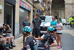 Young fans chat to Drops Cycling Team riders before the Durango-Durango Emakumeen Saria - a 113 km road race, starting and finishing in Durango on May 16, 2017, in the Basque Country, Spain.