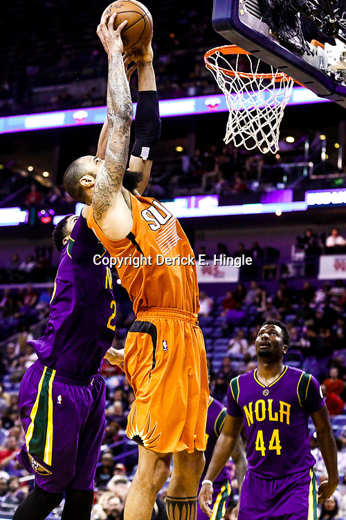 Feb 6, 2017; New Orleans, LA, USA; New Orleans Pelicans forward Anthony Davis (23) blocks a shot by Phoenix Suns center Tyson Chandler (4)  during the second half of a game at the Smoothie King Center. The Pelicans defeated the Suns 111-106. Mandatory Credit: Derick E. Hingle-USA TODAY Sports