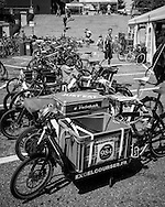 Picture by Andrew Tobin/Focus Images Ltd +44 7710 761829<br /> 04/08/2013<br /> Modified load carrying cargo bikes lined up during the Cycle Messenger World Championships held in Lausanne, Switzerland. Started in 1993 by Achim Beier from Berlin, the championships are not only a sporting contest but an opportunity to unite friends and bicycle enthusiasts worldwide. The event comprises a number of challenges including a sprint, a track stand (longest time stationary on the bike), a cargo race where heavy loads are carried on special bikes, and the main race. The course winds through central Lausanne and includes bridges, stairs, cobbles, narrow alleyways and challenging hills. The main race simulates the job of a bike courier making numerous drops and pickups across the city. Riders need to check in at specific checkpoints, hand over their delivery and get a new one. The main race can take up to 4 hours for each competitor to complete.