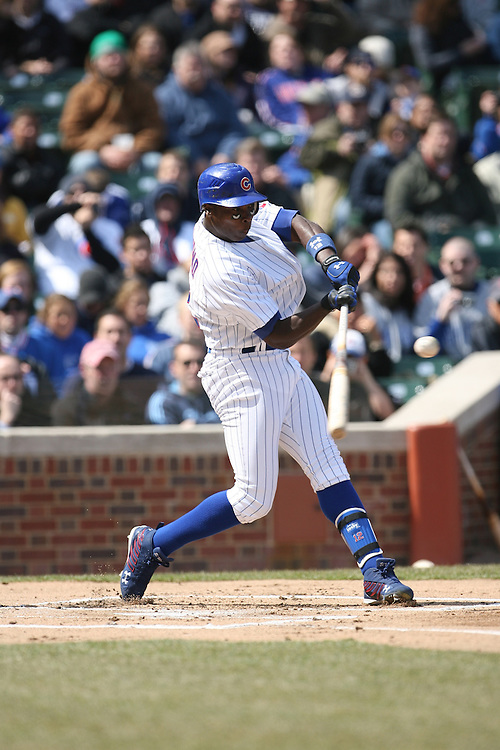 CHICAGO - APRIL 2:  Alfonso Soriano #12 of the Chicago Cubs bats during the game against the Milwaukee Brewers at Wrigley Field in Chicago, Illinois on April 2, 2008.  The Brewers defeated the Cubs 8-2. (Photo by Ron Vesely)