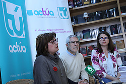 March 22, 2019 - Madrid, Spain - Press conference of the candidate of Actua to the Presidency of the Government, Gaspar Llamazares(C) with members of the party in Madrid, Spain, on 22 March 2019. (Credit Image: © Jesus Hellin/NurPhoto via ZUMA Press)