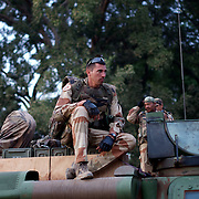 January 19, 2013 - Niono, Mali: French Army men gather in Niono's main square near the Mali police headquarters. Niono is the last government controlled location before Diabaly, a city under islamist militants control since the 14th of January.<br />