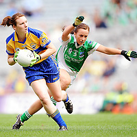 27 September 2009; Fiona Lafferty, Clare, in action against Anita Newell, Fermanagh. TG4 All-Ireland Ladies Football Intermediate Championship Final, Clare v Fermanagh, Croke Park, Dublin. Picture credit: Brendan Moran / SPORTSFILE *** NO REPRODUCTION FEE ***