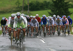 Riders of team Perutnina Ptuj (in front  Kristjan Fajt of Slovenia (Perutnina Ptuj) and Gregor Gazvoda of Slovenia (Perutnina Ptuj)) leading the peloton in last 4th stage of the 15th Tour de Slovenie from Celje to Novo mesto (157 km), on June 14,2008, Slovenia. (Photo by Vid Ponikvar / Sportal Images)/ Sportida)