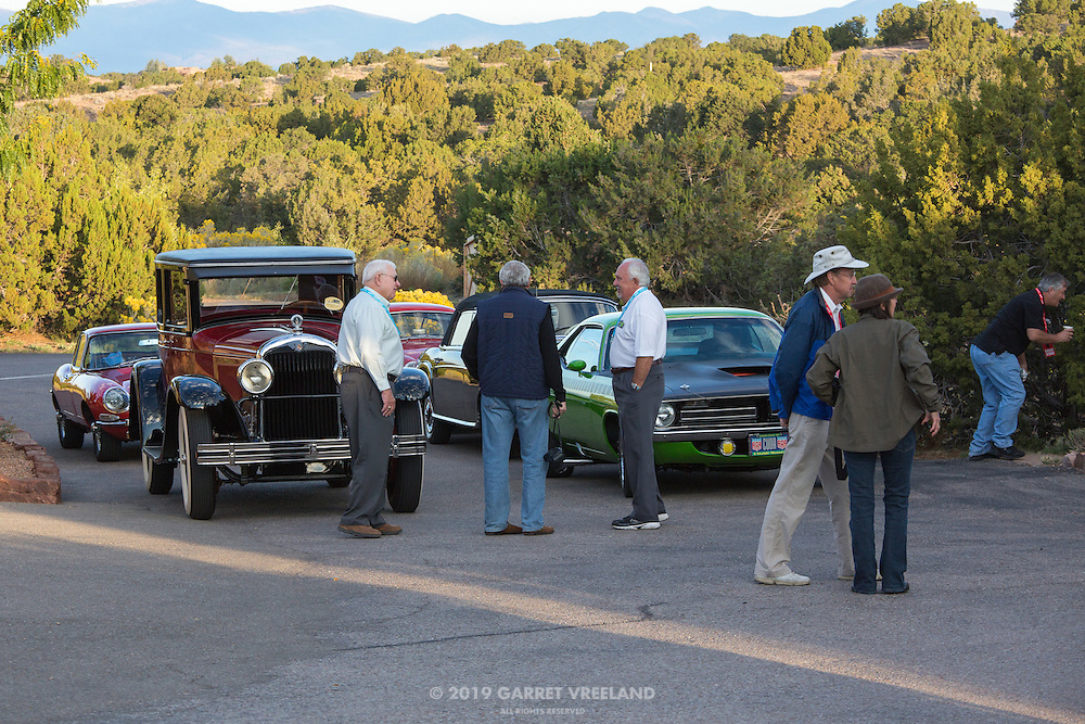 The participating automobiles start lining up in the parking lot of Arroyo Vino, for the 2012 Santa Fe Concorso High Mountain Tour.