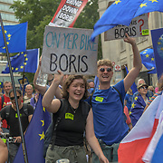 Thousands Anti-Brexit march No to Boris - Yes to Europe on 20 July 2019.