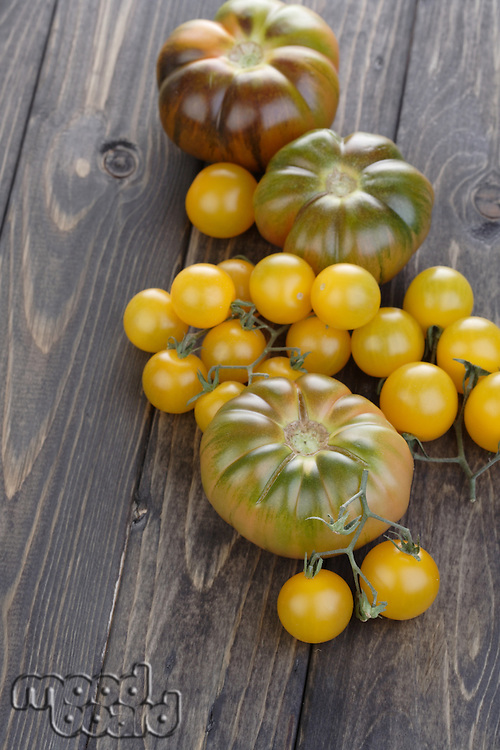 Close up of black an cherry tomatoes