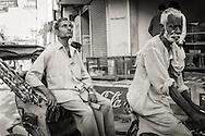 Cycle rickshaw driver and his passanger in Varanasi (Benares), India