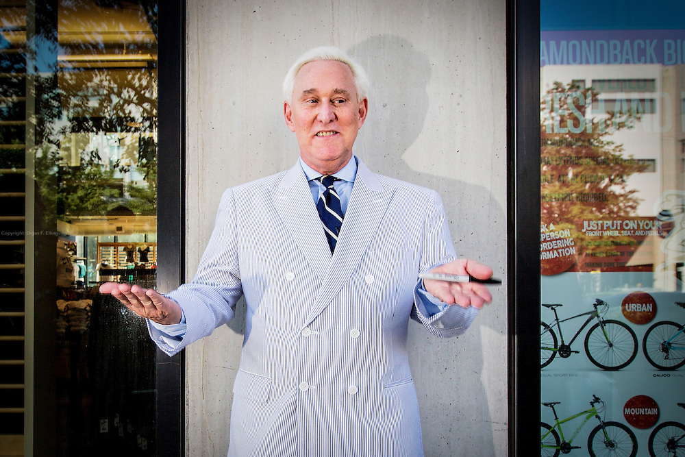 Former adviser to Donald Trump, Roger Stone. The Republican National Convention in Cleveland, where Donald Trump is nominated as the republican presidential candidate.