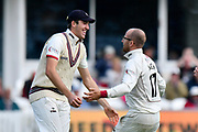 Wicket - Jack Leach of Somerset celebrates with Craig Overton of Somerset after taking the wicket of Liam Livingstone of Lancashire during the Specsavers County Champ Div 1 match between Somerset County Cricket Club and Lancashire County Cricket Club at the Cooper Associates County Ground, Taunton, United Kingdom on 13 September 2017. Photo by Graham Hunt.
