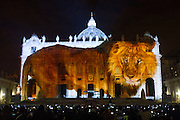 Vatican City dec 8th 2015, in the picture ' Fiat lux ' projection on St Peter's Basilica featuring great photographers' images, for the opening of Extraordinary Jubilee of Mercy